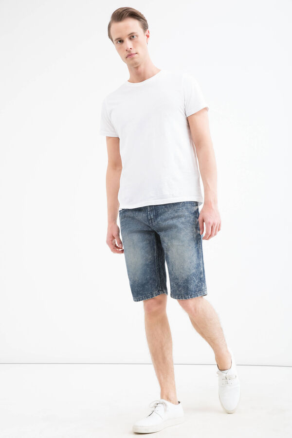 Straight fit, mis-dyed denim Bermuda shorts | OVS