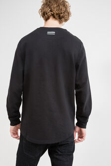 100% cotton sweatshirt with round collar and ribbing, Black, hi-res