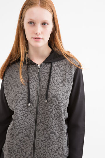 Patterned Curvy hoodie, Black/Grey, hi-res