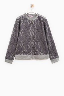 100% cotton sweatshirt with lace, Grey, hi-res
