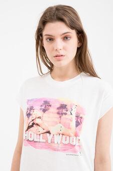 T-shirt cotone smanicata stampa, Bianco latte, hi-res