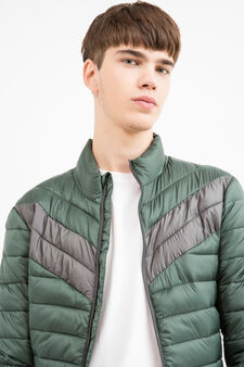 Solid colour quilted down jacket with zip, Green, hi-res