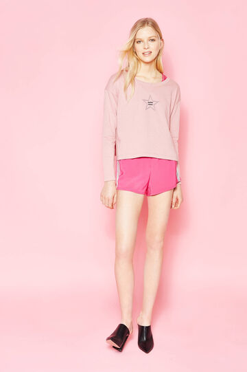 Shorts with glossy side bands, Neon Pink, hi-res