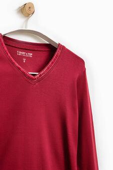 Smart Basic V-neck T-shirt, Red, hi-res