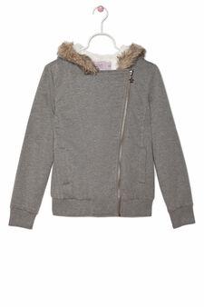 Cotton blend hoodie with zip, Grey Marl, hi-res