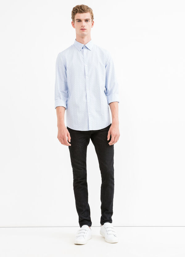 Slim-fit casual shirt with micro stripes and polka dots | OVS