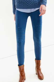 Stretch cotton stitched leggings, Denim Blue, hi-res