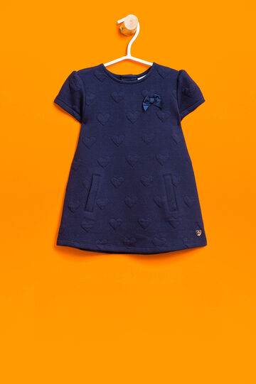 Stretch dress with hearts weave, Navy Blue, hi-res