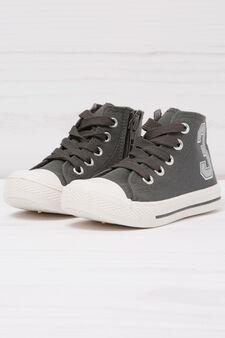 High-top printed sneakers, Grey, hi-res