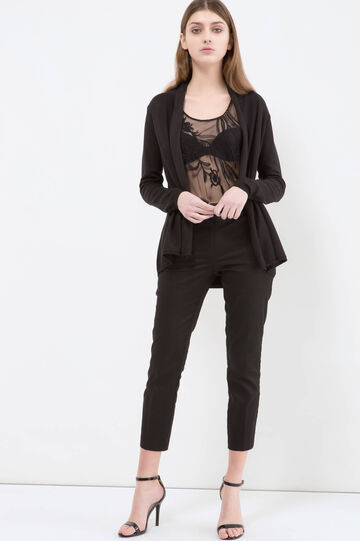 Solid colour viscose blend cardigan., Black, hi-res