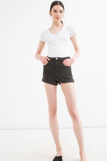 T-shirt misto cotone a costine, Bianco, hi-res