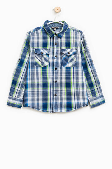 Cotton shirt with tartan pattern, Blue/Green, hi-res