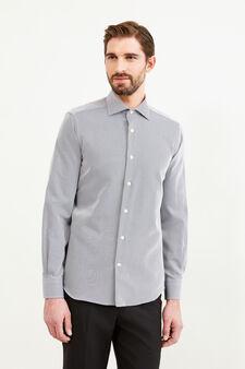 Cotton striped slim fit formal shirt, Black, hi-res