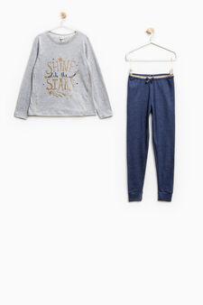Pigiama con pantaloni vita glitterata, Grigio/Blu, hi-res
