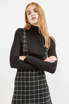 Dungaree skirt with check pattern, Black, hi-res