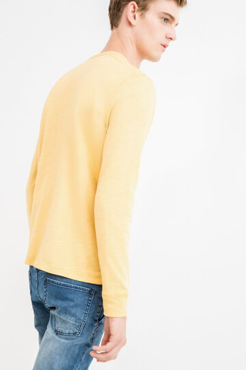 100% cotton T-shirt with G&H embroidery at the hem, Ochre Yellow, hi-res