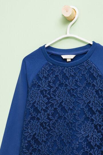 Stretch cotton sweatshirt with lace, Ocean Blue, hi-res