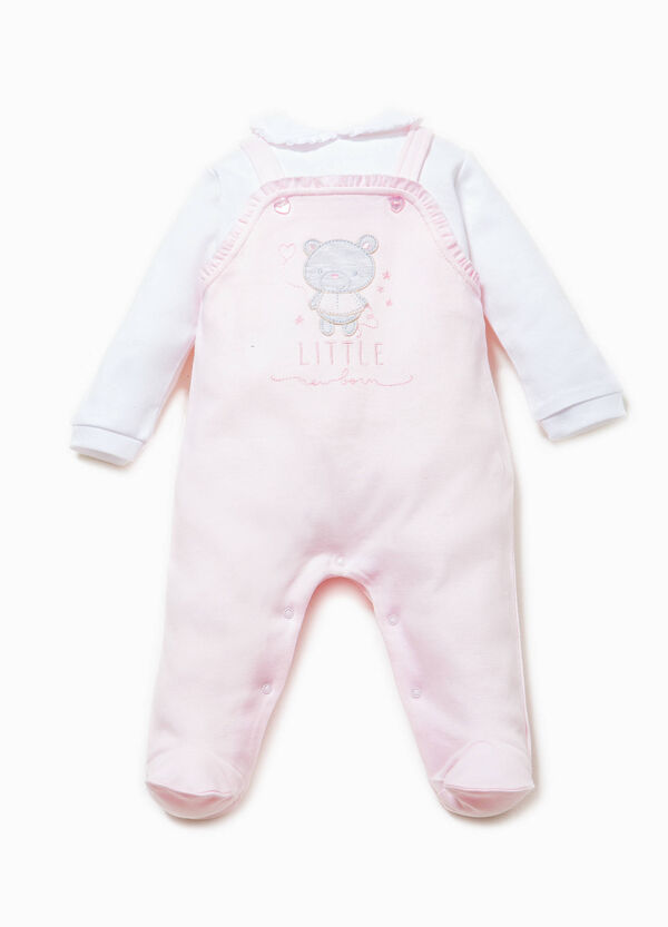 Embroidered onesie with flounces | OVS
