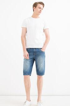Bermuda di jeans straight fit strappi, Denim, hi-res