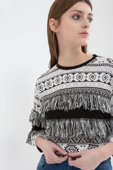 Patterned stretch pullover with fringe, White/Black, hi-res