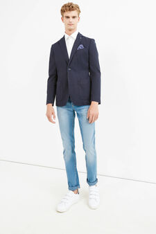 Elegant stretch cotton jacket with lapels, Blue, hi-res