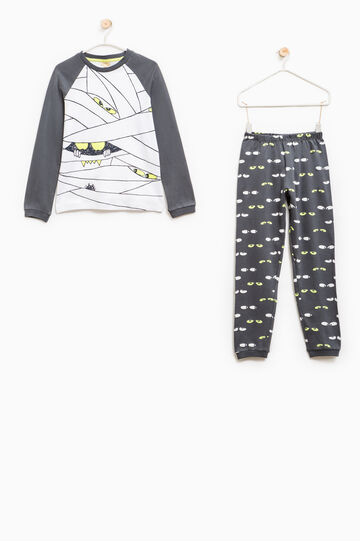 Cotton pyjamas with eyes pattern, Dark Grey, hi-res