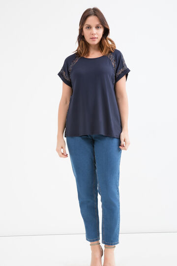 Curvy T-shirt in 100% viscose with insert, Navy Blue, hi-res
