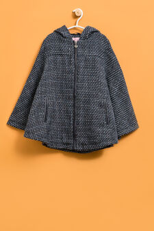 Knitted poncho with pockets, Blue, hi-res