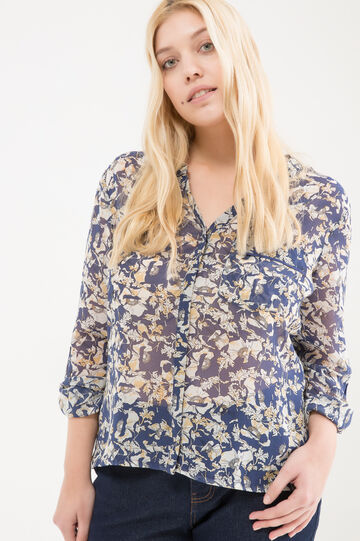 Curvy printed cotton shirt, Multicolour, hi-res