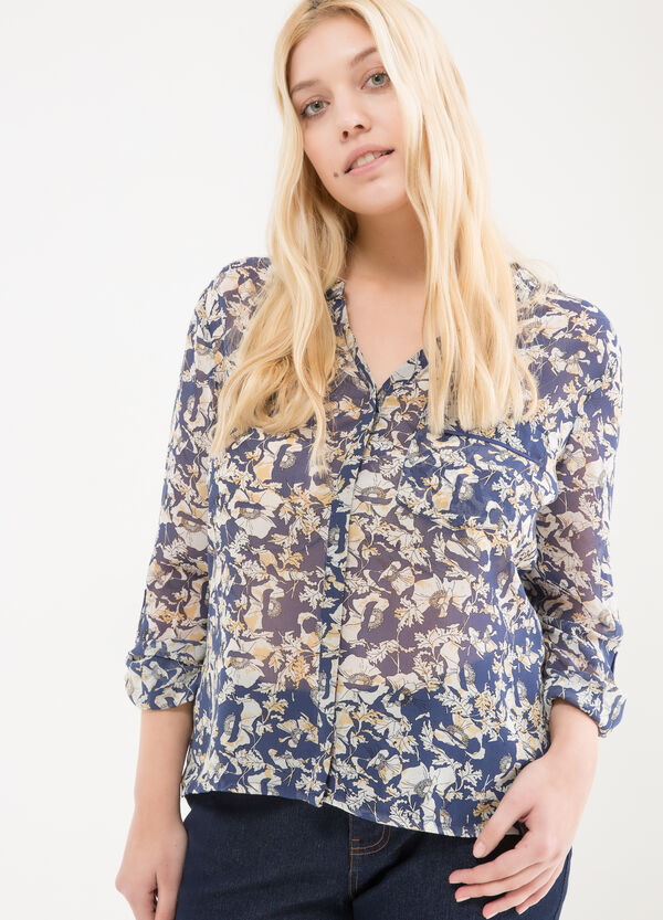 Curvy printed cotton shirt | OVS