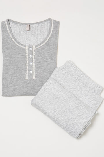 Patterned cotton blend pyjamas, Grey Marl, hi-res