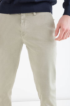 Slim-fit stretch cotton chino trousers, Green, hi-res