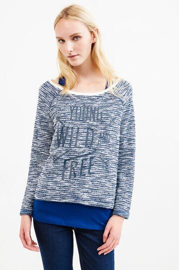 Mélange sweatshirt with internal vest top, Navy Blue, hi-res