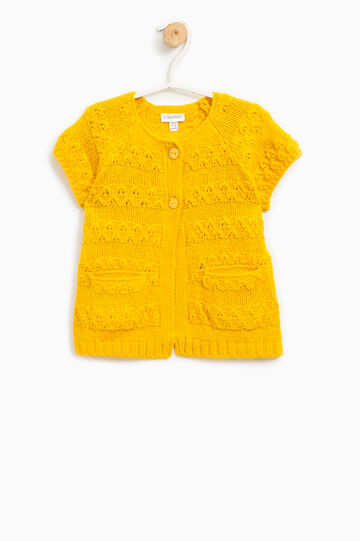 Knitted cardigan with short sleeves, Yellow, hi-res