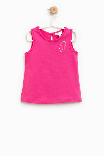 100% cotton top with diamantés, Fuchsia, hi-res