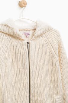 Cardigan with faux fur hood, White, hi-res