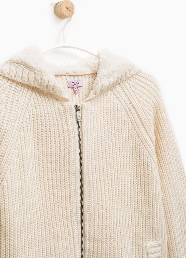 Cardigan with faux fur hood | OVS