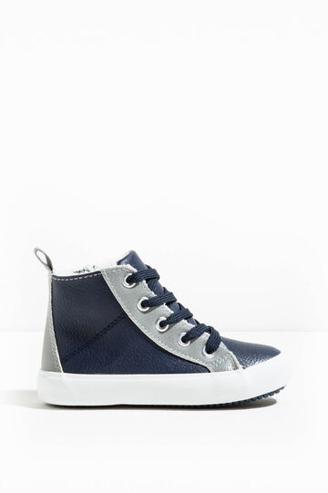 High-top sneakers with laces and zip, Navy Blue, hi-res