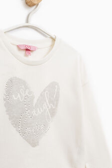 100% cotton sweatshirt with glitter print, Milky White, hi-res