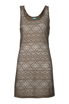 Openwork beach cover-up, Khaki, hi-res