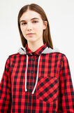 Long check shirt with hood, Black/Red, hi-res