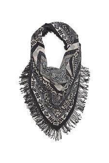 Patterned scarf with fringe, Black, hi-res