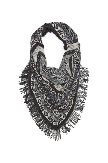 Patterned scarf with fringe, Black, hi-res