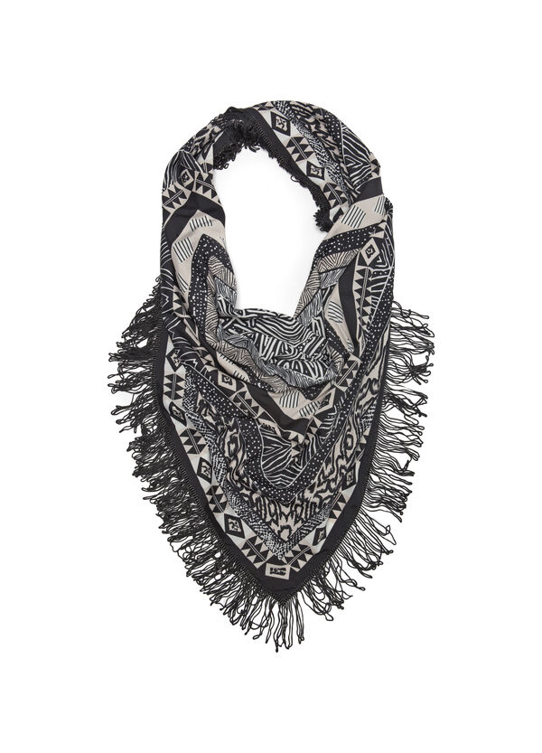 Patterned scarf with fringe | OVS