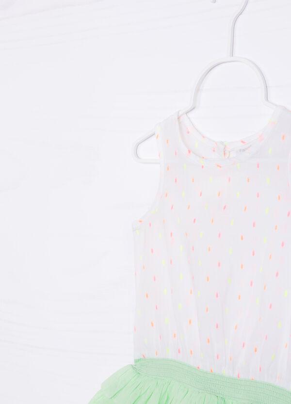Stretch cotton dress with flounces | OVS