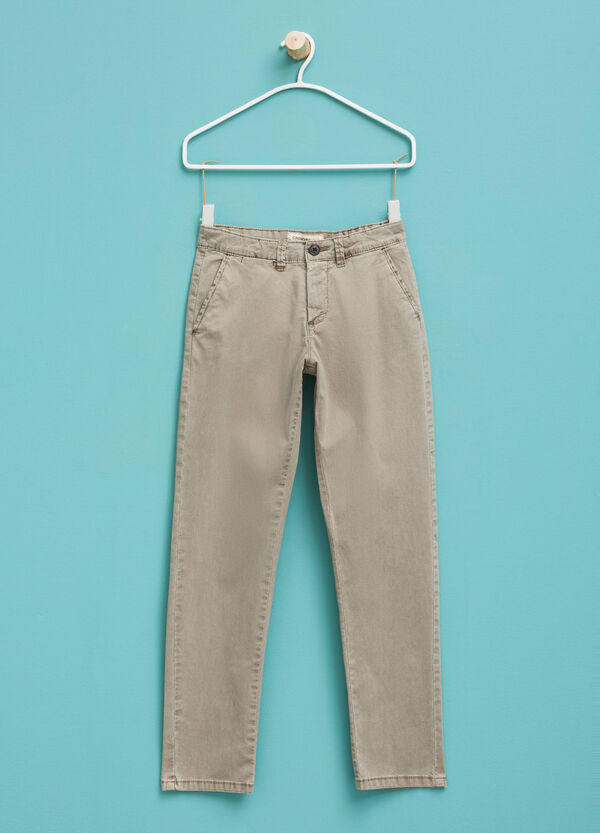 Solid colour stretch chino trousers | OVS