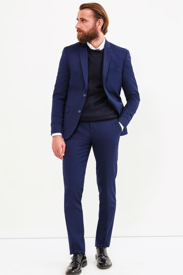 Elegant slim-fit suit in stretch viscose, Blue, hi-res
