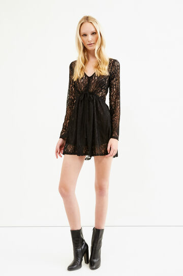 Short jumpsuit in lace, Black, hi-res