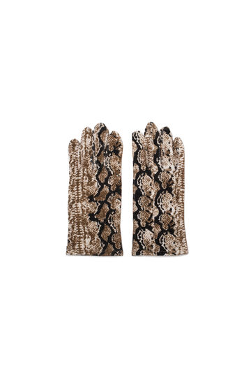 Animal print gloves, Beige, hi-res