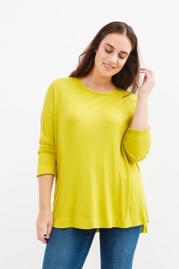 Curvy T-shirt in ribbed stretch viscose, Acid Green, hi-res